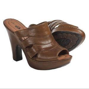 Born Dayna whiskey stack heel mules sling backs